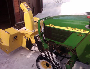 John Deere 2210 with 47-inch Snowblower Left Side