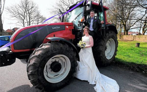 English Farmer Travels to Wedding in Tractor